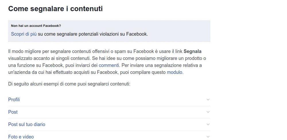 segnalazione contenuti social facebook
