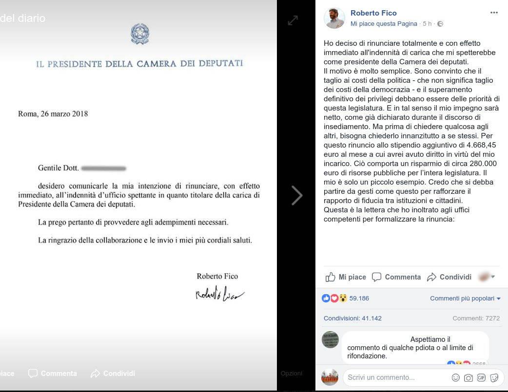 post Roberto Fico rinuncia indennità