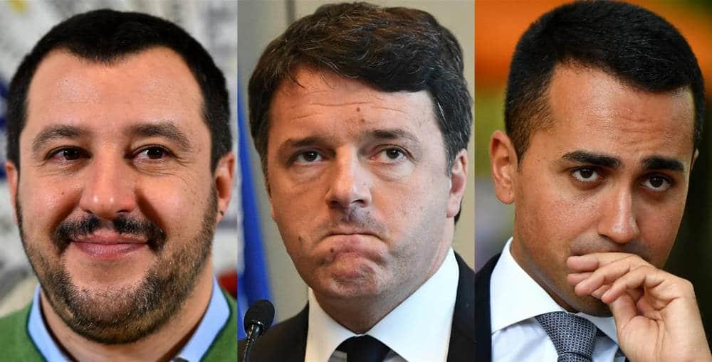 Renzi, Di Maio e Salvini destra e sinistra