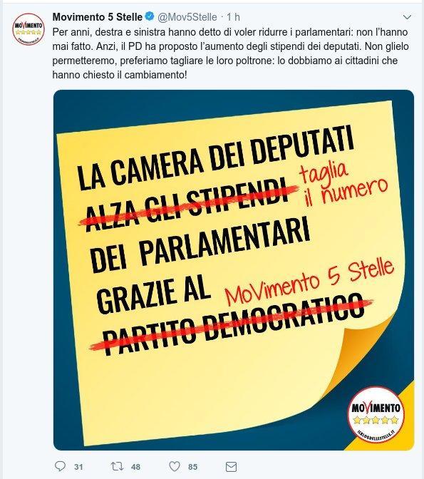 tweet m5s taglio parlamentari