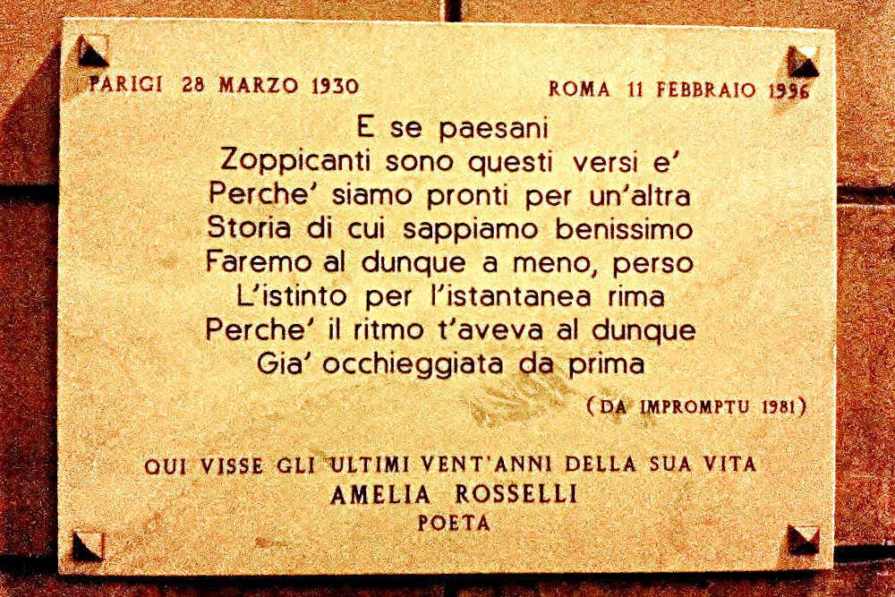 Targa Amelia Rosselli Via del Corallo Roma