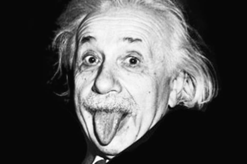 mascherina linguaccia Einstein