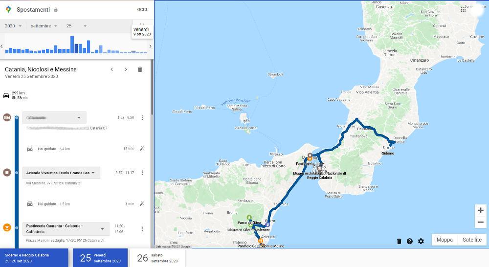 spostamenti di google maps