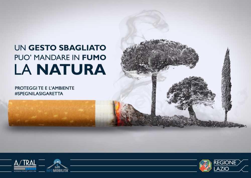 pubblicità progresso su incendi e mozziconi di sigaretta nel Lazio